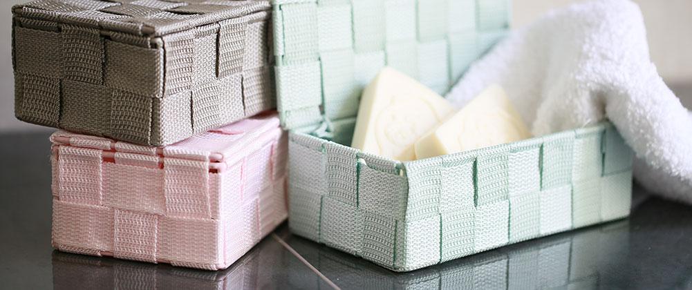 Aufbewahrungsboxen, Kisten, Kästchen für das Badezimmer, Accessoires, Dekoration