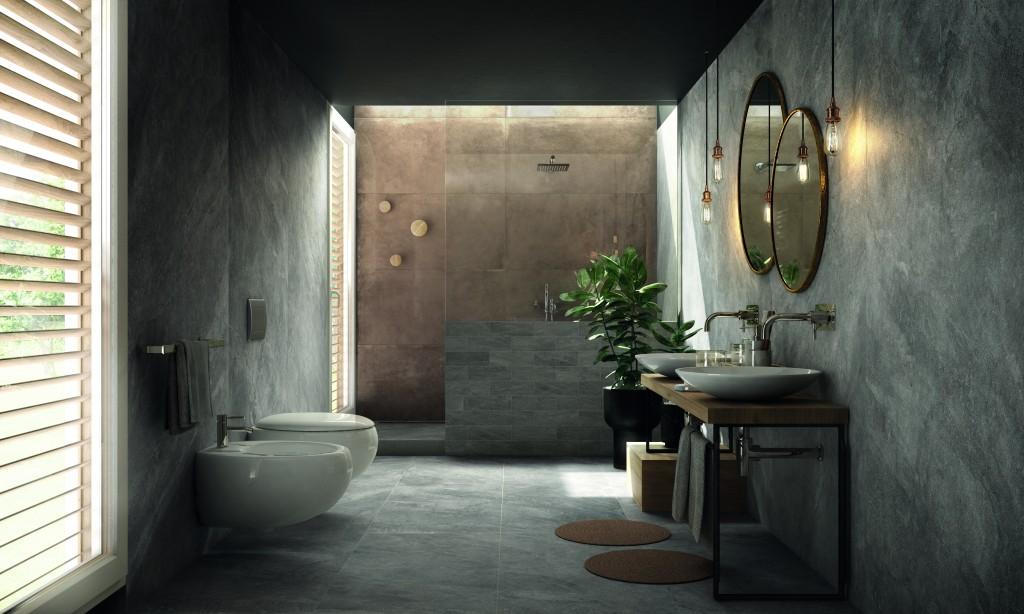 Badezimmer mit Bidet und Beton / Naturstein-Fliesen XXL im Großformat